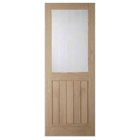 Cottage Etch Door White Oak Glazed